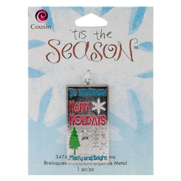 Tis The Season Metal Charms - Xmas Tag 1/Pkg