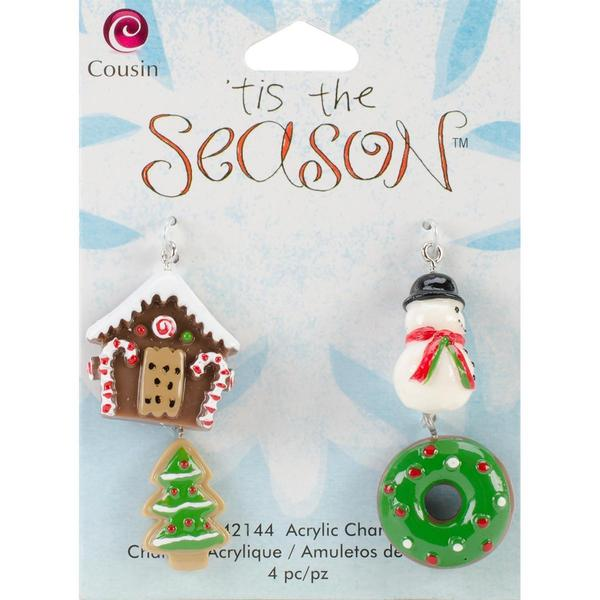 Tis The Season Acrylic Charms - Multi 4/Pkg