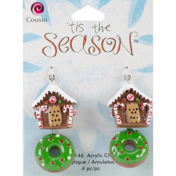 Tis The Season Acrylic Charms - House/Donut 4/Pkg