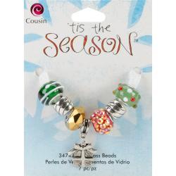 Tis The Season Large Hole Beads - Gift Glass/Metal/Acrylic 7/Pkg