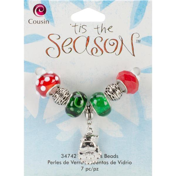 Tis The Season Large Hole Beads - Santa Glass/Metal 7/Pkg