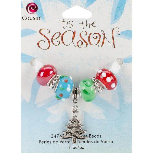 Tis The Season Large Hole Beads - Tree Glass/Metal 7/Pkg