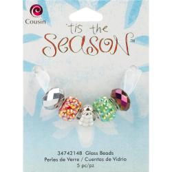 Tis The Season Large Hole Beads - Tree Glass/Acrylic/Metal 5/Pkg