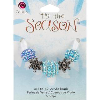 Tis The Season Large Hole Beads - Snowflake Acrylic/Metal 5/Pkg