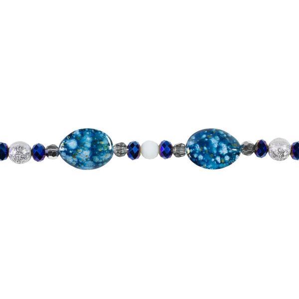 Tis The Season Bead Strand - Blue Splatter Acrylic/Glass 54/Strand