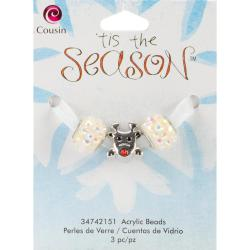 Tis The Season Large Hole Beads - Reindeer Acrylic/Metal 3/Pkg