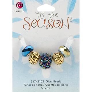 Tis The Season Large Hole Beads - Star Glass/Metal/Acrylic 5/Pkg