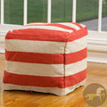 Christopher Knight Herrington Red and White Wool Pouf Ottoman