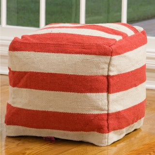 Christopher Knight Home Herrington Red and White Wool Pouf Ottoman