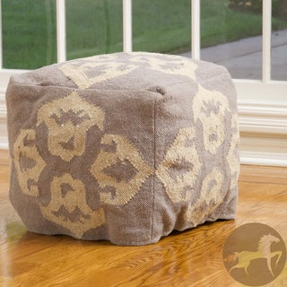 Christopher Knight Apache Grey and White Wool Pouf Ottoman