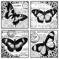 Crafty Individuals Unmounted Rubber Stamp 4.75 X7 Pkg - Four Beautiful Butterflies