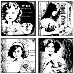 Crafty Individuals Unmounted Rubber Stamp 4.75 X7 Pkg - Four Pretty Young Girls