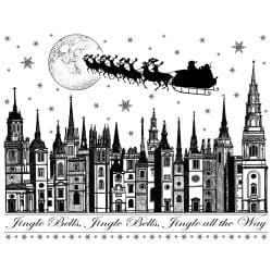 Crafty Individuals Unmounted Rubber Stamp 4.75 X7 Pkg - Jingle Bells Rooftops