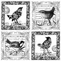 Crafty Individuals Unmounted Rubber Stamp 4.75 X7 Pkg - Four Little Songbirds
