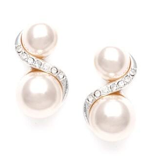Roman Silvertone Cream Faux Pearl and Crystal Swirl Earrings