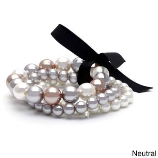 Roman Brown, Grey or Neutral Faux Pearl Stretch Bracelet