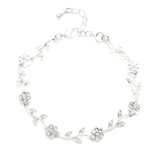 Silvertone Crystal Flower Leaf Design Bracelet