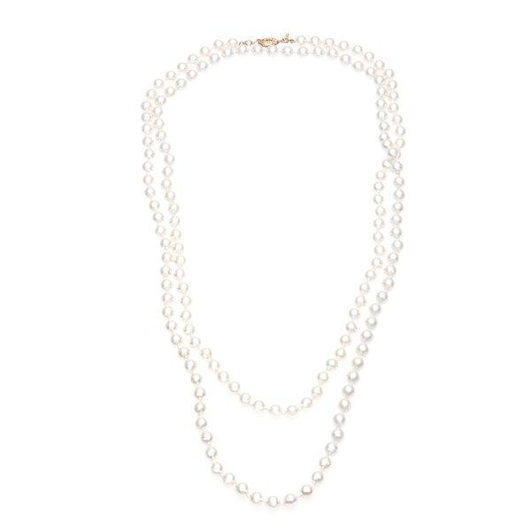 Roman Faux Cream Pearl 60-inch Strand Necklace (8mm)