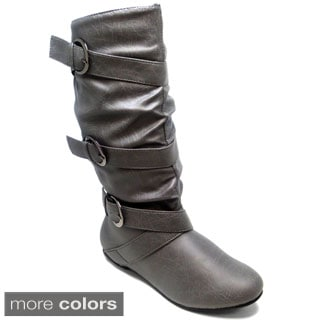 Women's 'Satrena-3' Triple Strap Knee-high Flat Boots