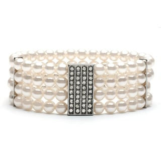 Roman Silvertone Faux Pearl and Crystal 4-row Stretch Bracelet