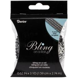 Bling On A Roll 3mm X 3yds - 4 Row, Black/Silver