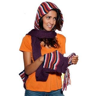 Knitted pixie Multi-colored Hat Scarf (Nepal)