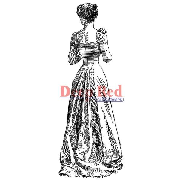 Deep Red Cling Stamp - Victorian Evening Dress