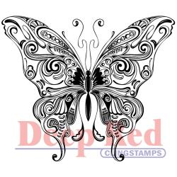 Deep Red Cling Stamp - Butterfly Swirl