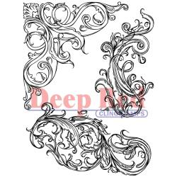 Deep Red Cling Stamp - Fleur Scroll