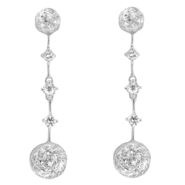 Sterling Silver Clear Cubic Zirconia Circle Dangle Earrings
