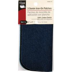 Iron-On Patches 5 X5 3/Pkg - Assorted Denim