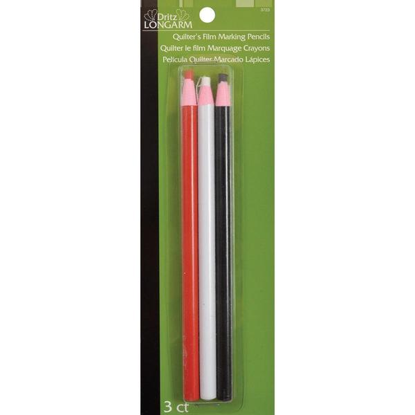 Dritz Longarm Quilter's Film Marking Pencils - 3/Pkg One Each Of Red, White & Black