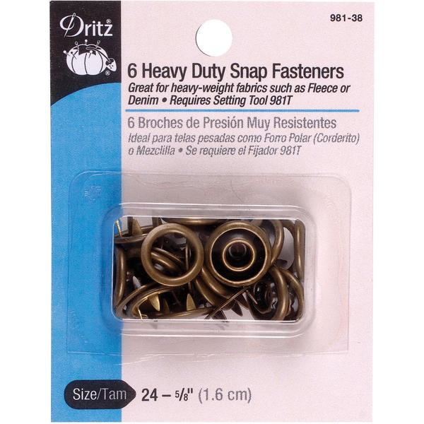 Heavy Duty Snap Fasteners 5/8 6/Pkg - Antique Brass