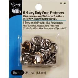 Heavy Duty Snap Fasteners 5/8 6/Pkg - Nickel