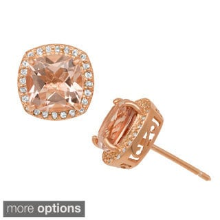 Gioelli Rose Gold/ Silver Simulated Morganite and Created Sapphire Earrings