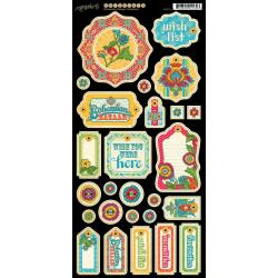 Bohemian Bazaar Chipboard Die-Cuts 6 X12 Sheet - Tags