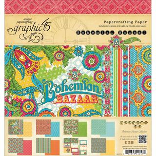 Bohemian Bazaar Double-Sided Paper Pad 8 X8 - 24 Sheets - 8 Designs/3 Each