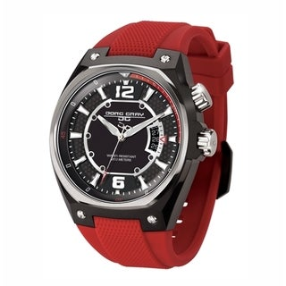 Jorg Gray Men's Black Dial and Red Silicone Strap Watch
