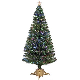 Multi-color LED Fiber Optic Tree Top Star Gold Base Tree