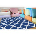 Metropolis Contemporary Geometric Navy Area Rug (5'3 x 7'3)