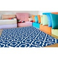 Metropolis Contemporary Navy Polypropylene Runner Rug (2'7 x 7'3)