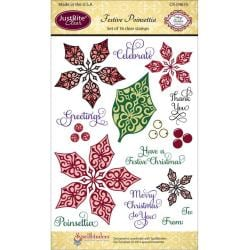 JustRite Stampers 4 x6 Clear Stamp Set - Festive Poinsettia 16pc