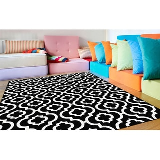 Alise Metropolis Contemporary Black Area Rug (5'3 x 7'3)