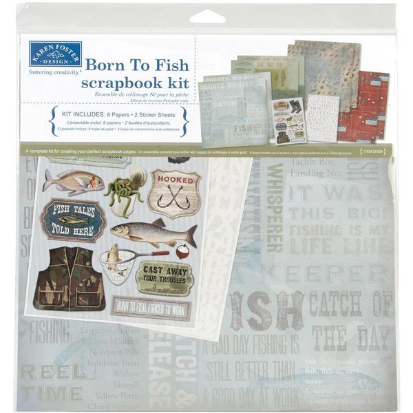 Born To Fish Scrapbook Page Kit 12 X12 -