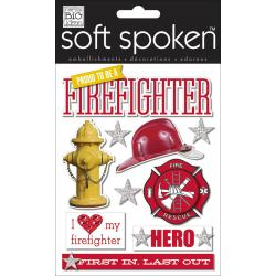 Soft Spoken Themed Embellishments - Proud To Be A Firefighter