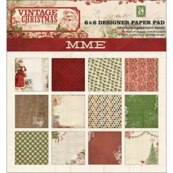 Vintage Christmas Designer Paper Pad 6 X6 24/Sheets - Double-Sided