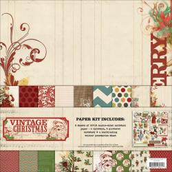 Vintage Christmas Paper & Accessories Kit 12 X12 -