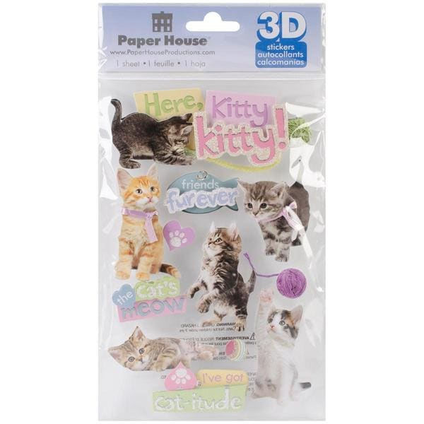 Paper House 3-D Sticker - Here Kitty Kitty