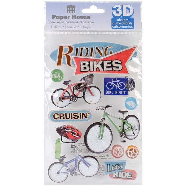 Paper House 3-D Sticker - Riding Bikes