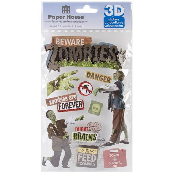 Paper House 3-D Sticker - Beware Zombies
